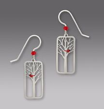 Sienna Sky Red CARDINAL In Tree EARRINGS STERLING Silver Dangle - Gift Boxed