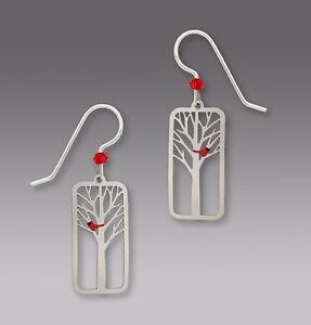 Sienna Sky Jewelry RED CARDINAL In TREE Earrings 1614 STERLING Silver Dangle