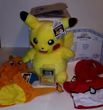 Build A Bear Pokemon Pikachu online plush BUNDLE set 2 hoodies card sound NEW