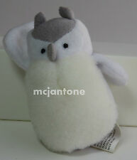 """LOOSE Burgerville 2002 PLUSH WHITE GREY OWL Small 3"""" Tall Fast Food Toy ? Bird"""