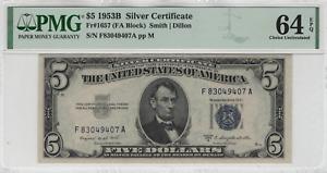 1953 B $5 Silver Certificate Note FA BLOCK Fr.1657 PMG CHOICE UNC 64 EPQ