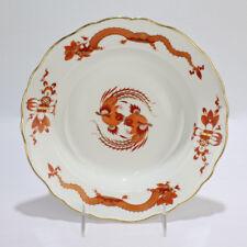Antique Meissen Porcelain Red Court Dragon Soup Bowl - Drachen PC
