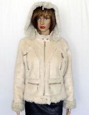 Wilsons Leather Cream Suede FAUX Fur Trim Crop Hoodie Jacket Ivory Coat Size M