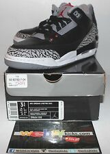 Air Jordan Retro 3 III Cement Black Grey White OG Sneakers Boy's Size GS 3.5 New
