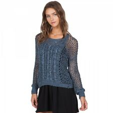 2016 NWT WOMEN VOLCOM JUST KNIT IT CREW SWEATER $50 S navy pullover cable open