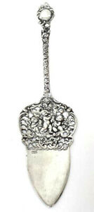 Vintage  Ornate 800  Silver Cake Server A in Circle Mark Cherubs with Garlands
