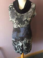 Gerry Weber Taifun Grey & Blue Cowl Neck Tunic Dress Sz Medium