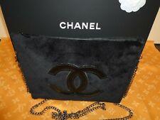 Chanel Prècision Tasche/ Clutch Plüsch/schwarz/ Crossbody