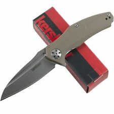 Kershaw Tan G10 Natrix Framelock Pocket Knife Stonewash Finish