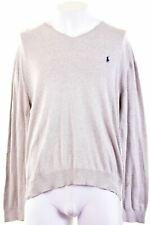 POLO RALPH LAUREN Mens V-Neck Jumper Sweater XL Grey Cotton  IR05