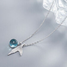 Mermaid Tail Necklace Blue Stone Bubble Crystal Dolphin Whale Fish Tale Silver