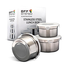 Stainless Steel Lunch Box (Set of 3) Reusable Leak Proof Food Storage Containers