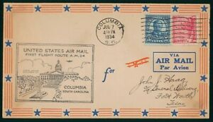 MayfairStamps US First Flight Cover 1934 Columbia to Fort Worth Texas AM 24 wwp6