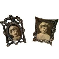LOT 2 Vintage Small Victorian Shirley Temple? Pewter Metal Picture Photo Frames