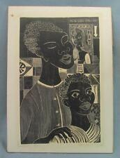 "Pablo Burchard •  Signed Block Print • No. 3 of 15 • ""Negroes"""