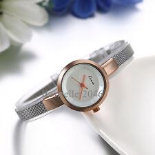 Reloj de pulsera de malla fina de acero inoxidable para mujer d cuarzo analógico
