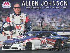 2016 Allen Johnson + Roy Johnson signed Marathon Dodge Dart PS NHRA postcard