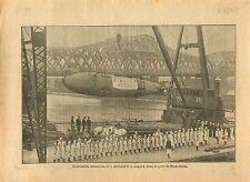 WWI Submarine Holland 9 US Navy Dock Port New-York War 1917 ILLUSTRATION