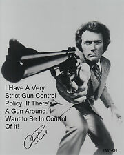 "Eastwood B&W 8""x10""Quote Autographed Photo Copy ""Dirty Harry"" GUN CONTROL...."