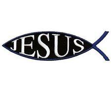 Jesus Fish Blue Christian Embroidered Motorcycle Bible MC Biker Patch PAT-0998
