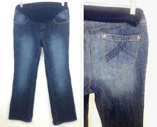 Oh Baby Women's Maternity Medium Jeans Pregnancy Dark Wash Stretchy Denim Blue