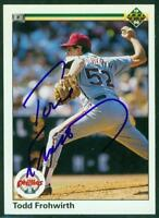 Original Autograph of Todd Frohwirth of the Phillies on a 1990 Upper Deck Card