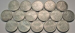 Lot of (16) Germany Silver 2 Reichs Marks, High Grade 1936 1937 1938 1939 German