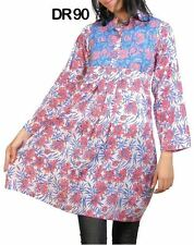 10 Cotton Tunic Women's Top Hand printed  Pintuck Frock Kurtis  Wholesale DR90