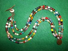 GREAT STRAND OLD COLUMBIA RIVER TRADE BEAD NECKLACE GLASS BEADS BEAUTIFUL COLORS