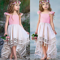 Princess Kids Girls Party Holiday Dress Baby Wedding Tutu Dress Ruffle Sundress