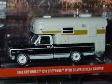 GREENLIGHT 1969 69 CHEVY C10 CHEYENNE PICKUP TRUCK w/SILVER STREAK CAMPER -Black