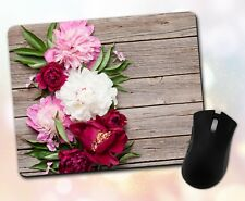Flower Mouse Pad • Flowers Pink White Nature Wood Gift Decor Desk Accessory