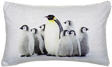 DE LUJO Nieve Navidad Pingüinos Negro Blanco Terciopelo Tocador Funda cojín