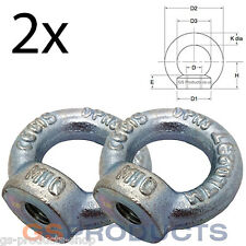 2 x 8mm Eye Nut DIN582 SWL 140kgs (Lifting Gear Eye Bolt Tow Eye) FREE P+P