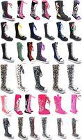 Girls Kids Canvas Sneaker Flat Tall Lace Up  Knee High Boot  Shoe Sz 11-4