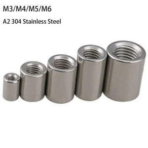 M3 M4 - M6 Threaded Round Sleeve Rod Bar Stud Connector Nuts Stainless Steel 304