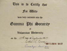 1939 Certificate Initiation into Gamma Phi Sorority Fae Witte Valparaiso IN Dale