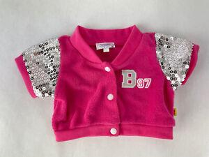 "Build A Bear Workshop Pink Varsity Snap Up Jacket with Sequins Fits 16"" BAB Bear"