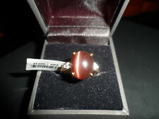 9K CATS EYE SCAPOLITE & DIAMOND YELLOW GOLD RING VERY RARE .