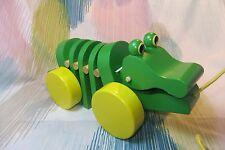 Kaper Kidz Wooden Children's Toy Pull-a-long Crocodile Toy! Pull along & Listen!