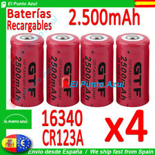 4 Pilas 16340 CR123A LR123★2500.mAh Recargables-Li-ion★3,7 volt★Litio x4 Bateria