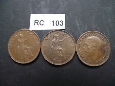 GREAT BRITAIN. GEORGE V. 3 COINS@ FARTHING. NICE CONDITION (1928-1936)#RC103s