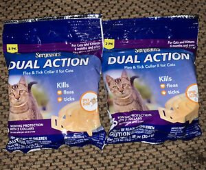 2 SERGEANT'S Dual Action Flea & Tick Collar II for Cats & Kittens  (4 Pack)