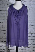 BLUE VELVET Large Blouse Lagenlook Purple 100% Silk Tunic Sheer Sleeveless