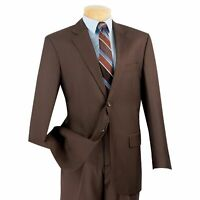 VINCI Men's Brown 2 Button Classic Fit Suit w/ Flat Front Pants NEW