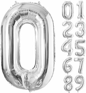 40 Inch Silver Foil Balloons Number 0-9, for Birthday Anniversary Party. Glowyms