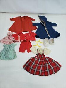 Lot of Vintage Assorted Doll Clothes Shoes Shorts dresses Raincoat Coat Tops