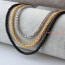 Braided Wheat Link 3-6MM Mens Chain Silver/Gold/Black Stainless Steel Necklace