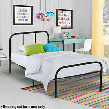 Metal Twin Size Platform Bed Frame Bedroom Heavy Duty Mattress Foundation Black