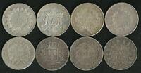 Lot de 8 écus de 5 Francs Argent Union et Force / Louis XVIII / Napoleon / Cérès